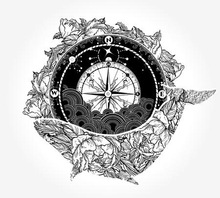 Design de tatuagem e t-shirt de baleia e bússola Ilustración de vector