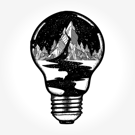 Mountains in a light bulb, tattoo Illustration