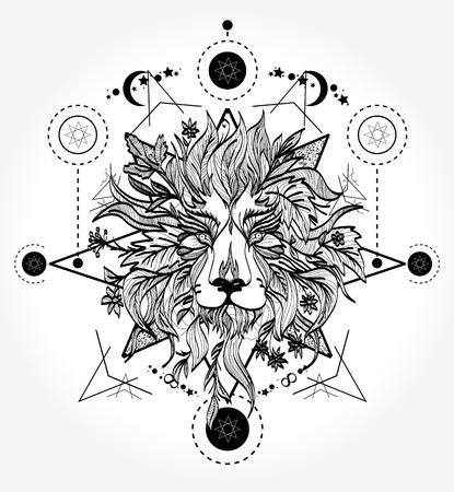 ライオンのタトゥーと t シャツをデザインします。  イラスト・ベクター素材