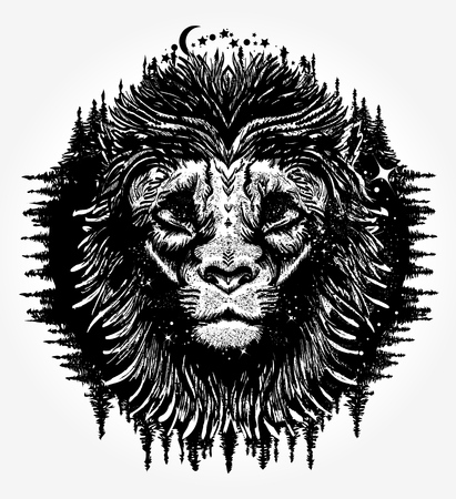 Lion tattoo and t-shirt design