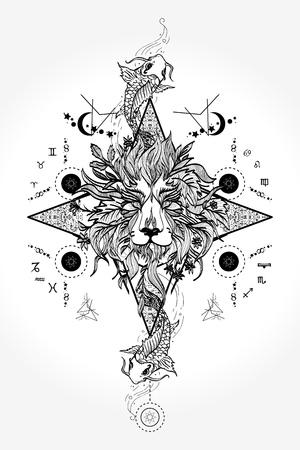Leeuwen hoofd tattoo ontwerp Stock Illustratie