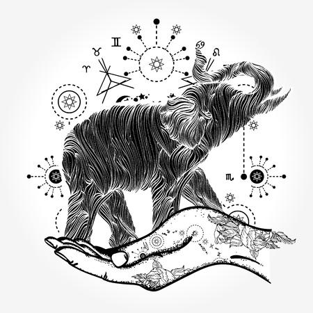 Olifant lijn kunst tattoo Stock Illustratie