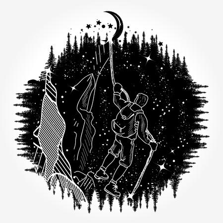 Arte del tatuaje de la silueta del escalador de montaña Foto de archivo - 84741924