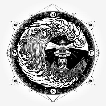 灯台と海のタトゥーや t シャツのデザイン  イラスト・ベクター素材