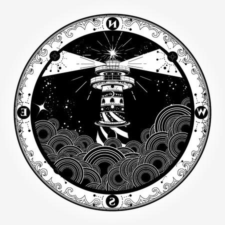 Lighthouse tattoo and t-shirt design Illustration