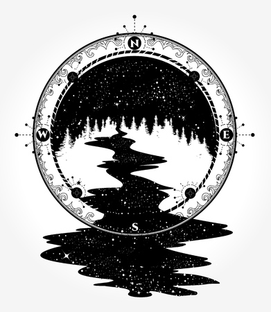 River and compass tattoo and t-shirt design