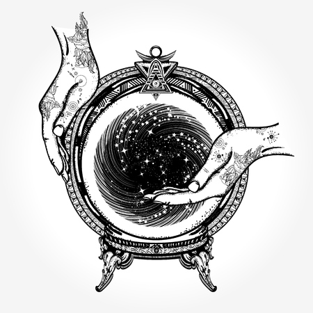Magic ball tattoo and t-shirt design