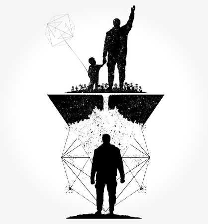 Father and son tattoo and t-shirt design Stock fotó - 84741978