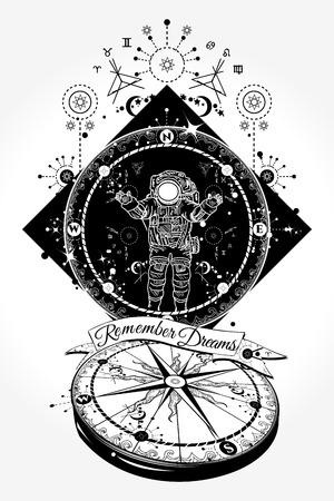 コンパスと宇宙飛行士のタトゥーや t シャツのデザイン