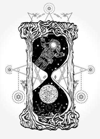 Zandloper mystieke symbolen leven en dood tattoo Stock Illustratie