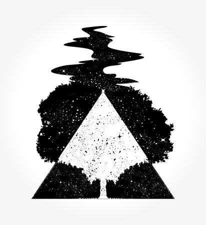 Baum Magie Tattoo und T-Shirt Design Standard-Bild - 84742036