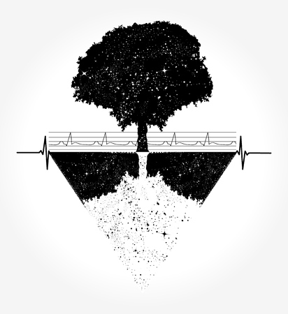Magic tree tattoo and t-shirt design Ilustracja