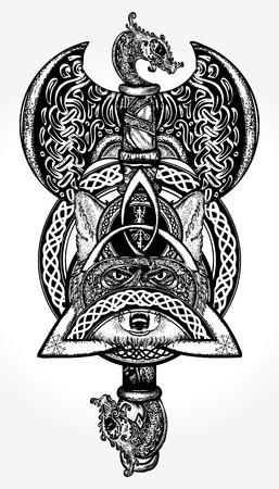 셀틱 바이킹 문신 및 티셔츠 디자인 일러스트