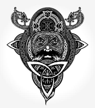 Viking tattoo and t-shirt design Stock Vector - 84742077