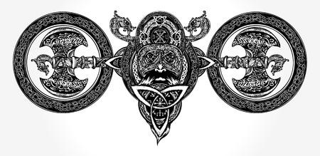 Viking tattoo and t-shirt design Stock Vector - 84742078