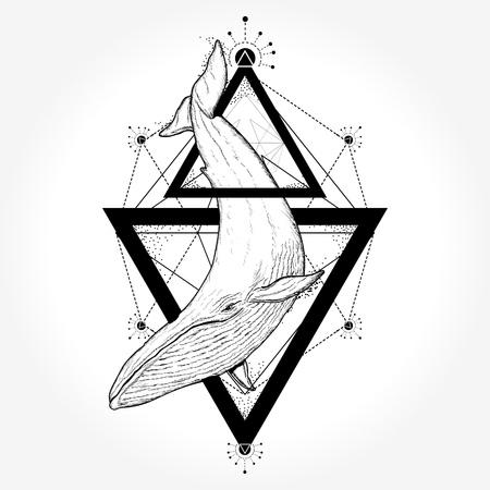 Creative geometric whale tattoo art t-shirt print design poster textile Stock fotó - 84742165