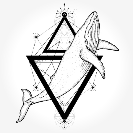 Whale tattoo and t-shirt design Иллюстрация