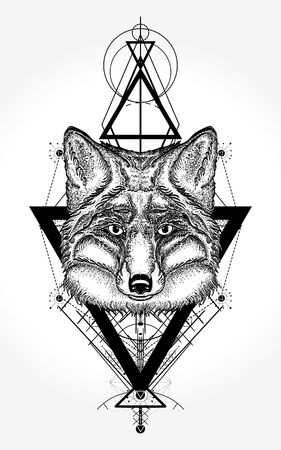 Fox tattoo and t-shirt design