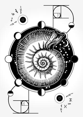 조화, 대칭, 황금 비율의 신비로운 점성술 상징