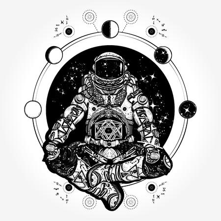 Spaceman silhouet zitten in lotus vormen van yoga tattoo