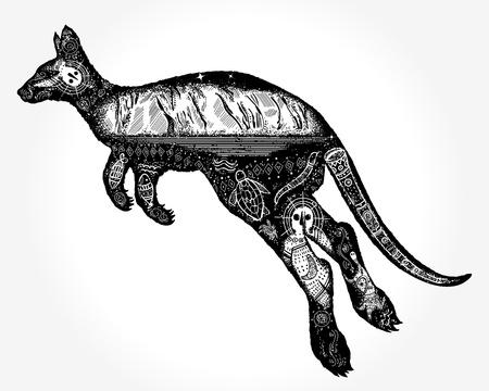 Kangaroo double exposure tattoo