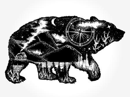 곰의 두 배 노출 문신 예술