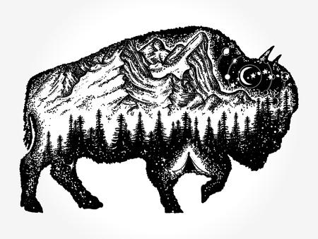Bizon tattoo art Stock Illustratie