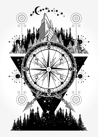 Bergen en antieke kompas tattoo kunst