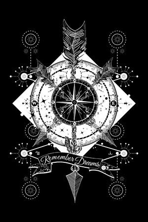 Toerisme tattoo en t-shirt ontwerp. Rose kompas en gekruiste pijlen tattoo. Avonturen reis. Magische symbolen reiziger, dromer, jacht, astrologie, alchemie
