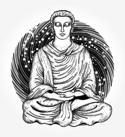 Buddha-Tätowierung und T-Shirt-Design. Space Buddha Tattoo Kunst. Religiöses Symbol der Harmonie, Spiritualität, Yoga, Meditation, Seele. Gott Buddha in Lotus-Position auf Hintergrund des Universums T-Shirt Design