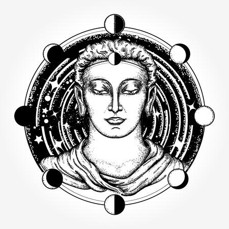 深宇宙 t シャツ デザインの仏。仏教刺青の魂の神聖な記号復活。仏の顔の入れ墨の芸術。不死、啓発、宗教、魔法のシンボルです。宇宙神