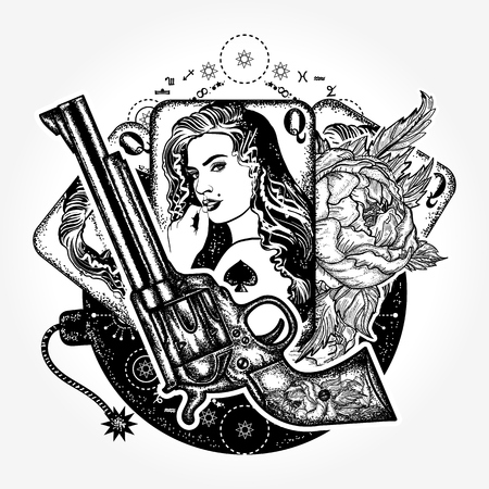 Wild west tattoo en t-shirt ontwerp. Revolver, speelkaarten, mooi meisje, bomtattoo-kunst. Casino, criminele achtergrond, set gangster-maffia. Vintage speelkaarten, rozen en pistoolt-shirt ontwerp