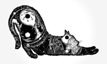 마법 고양이 이중 노출 t- 셔츠 디자인