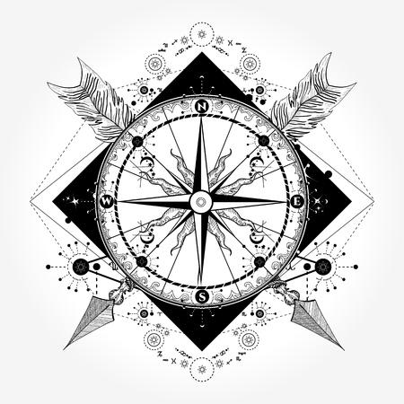 나침반 문신 및 티셔츠 디자인. 나침반과 교차 된 화살표 문신 예술. 관광, 모험, 여행의 상징입니다. 장미 나침반 티셔츠 디자인. 여행자, 등산객, 등산