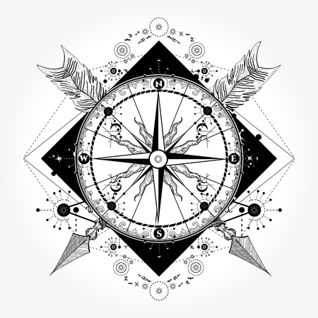 Compass tattoo and t-shirt design. Compass and crossed arrows tattoo art. Symbol of tourism, adventure, travel. Rose compass t-shirt design. Tattoo for travelers, climbers, hikers Stock Illustratie