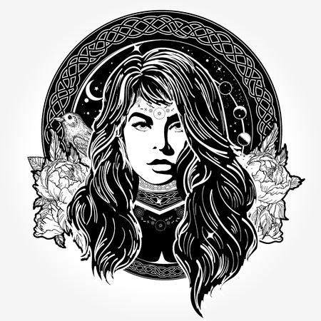 Diseño mágico del tatuaje y de la camiseta de la mujer Foto de archivo - 84742420