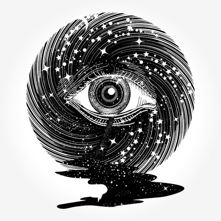 All seeing eye in space among stars tattoo art vector