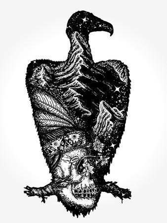Arte del tatuaje del buitre Ilustración de vector