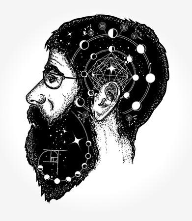 Doble estilo de exposición de arte del tatuaje Ilustración de vector
