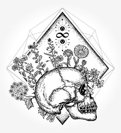 魔法の頭蓋骨の入れ墨と t シャツ デザイン。人間の頭蓋骨は、花、生と死の象徴は無限と不滅のサインします。人間の魂。心理学、哲学、詩 t シャ