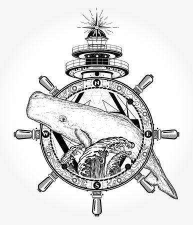 Whale and sea tattoo and t-shirt design Illustration