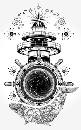 Lighthouse and floral whale tattoo art