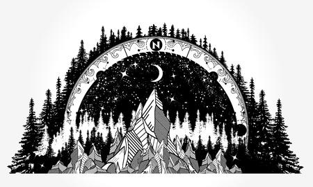 Berg antiek kompas en wind roos tattoo Stock Illustratie