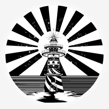 Lighthouse tattoo template in boho style t-shirt design