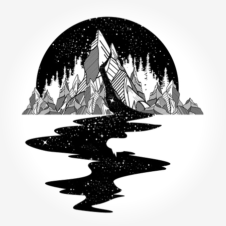 River of stars flowing from the mountains, tattoo art Ilustração