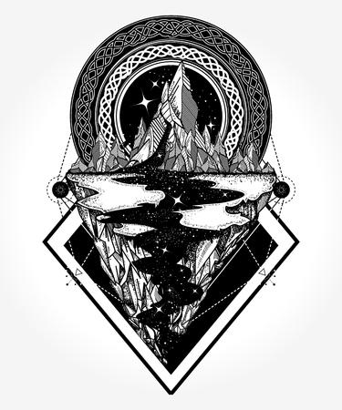 Bergen tattoo en t-shirt ontwerp Stock Illustratie