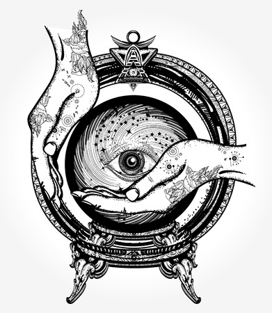 Magische bal waarzegster tattoo, kristallen bol in hun handen. Het voorspellen van het toekomstige magische ontwerp van de symboolt-shirt en tatoegeringskunst. Alle ziende ogen, handen heksen