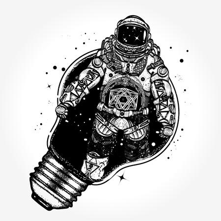 전구 문신 예술에 우주 비행사입니다. 우주 비행사의 초현실적 인 그래픽 T 셔츠 디자인. 창의적인 사고, 새로운 아이디어의 상징