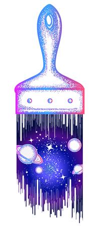La spazzola disegna il tattoo dell'universo e la t-shirt design. Simbolo di ispirazione e di sincera libertà. Simbolo di spazio, universo, sogno, immaginazione, poster di arte creativa dell'idea Archivio Fotografico - 86176575