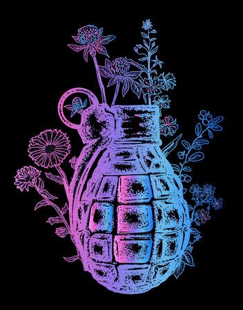 수류탄 티셔츠 디자인. 수류탄에 꽃이 자랍니다. 무기, 전쟁 및 평화, 선과 악의 상징. 녹슨 수류탄 문신